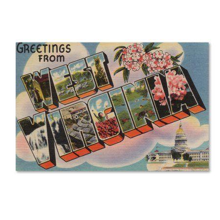 Trademark Fine Art 'Post Card 16' Canvas Art by Lantern Press, Size: 12 x 19, Blue
