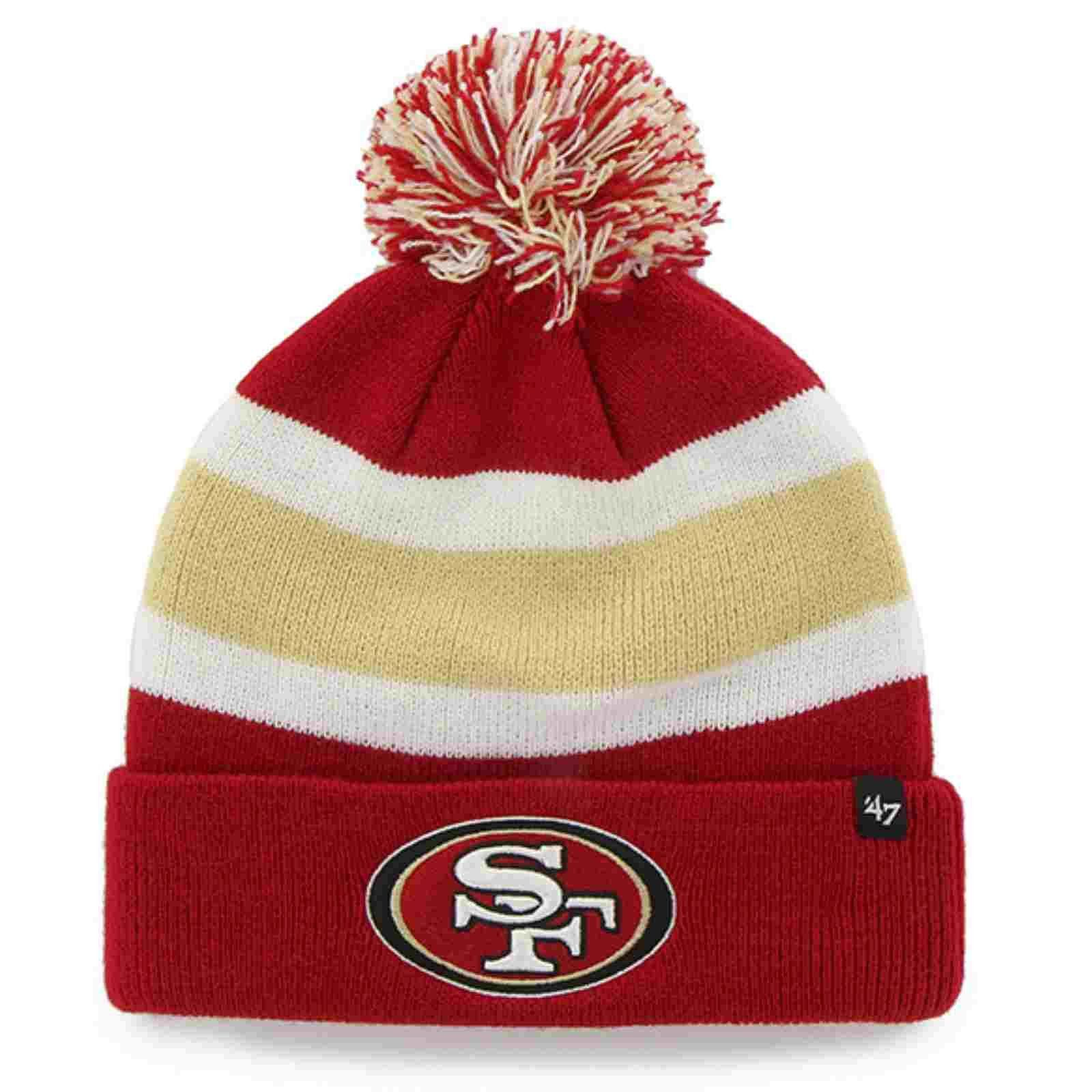 San Francisco 49ers 47 Brand Tri Tone Breakaway Cuffed Beanie Poofball Hat Cap 47 Brand Forty Seven Brand Beanie