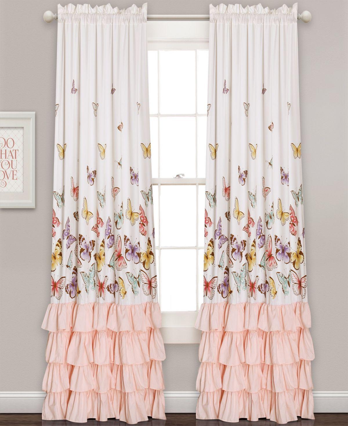 """Lush Décor Flutter Butterfly Ruffle 52"""" x 84"""" Curtain Set"""
