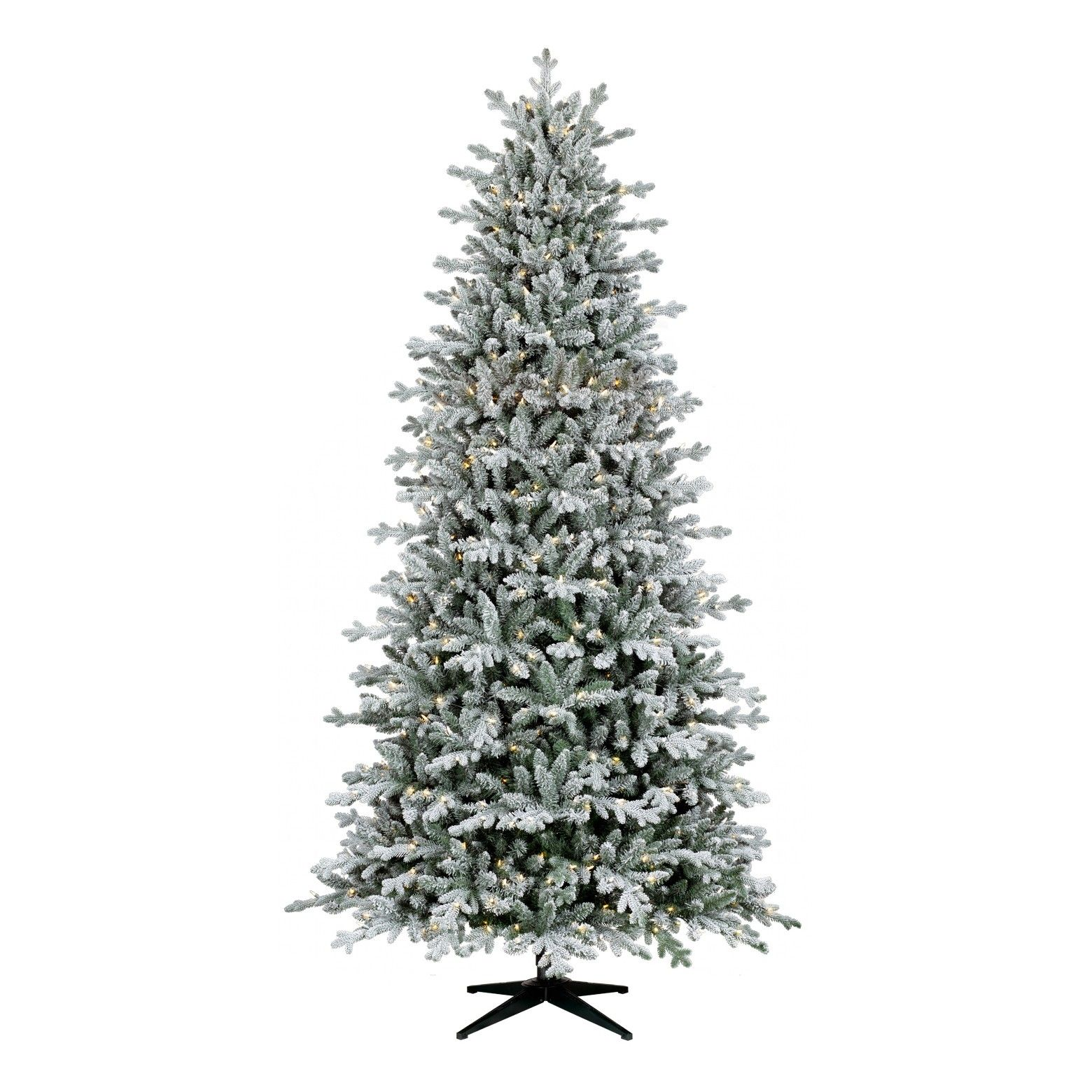 Make Your Home Feel Like A Fresh Snow Fall With This Beautifully Flocked 9 Pre Lit Frosted Christmas Tree Slim Artificial Christmas Trees Cool Christmas Trees