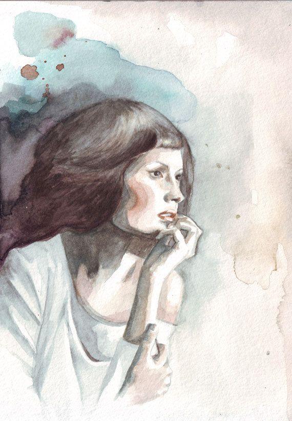 Original watercolor painting Woman staring ahead lost by HelgaMcL, $22.00