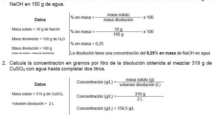 Ejercicios De Repaso Ejercicios Resueltos Ejercicios Disoluciones Quimicas