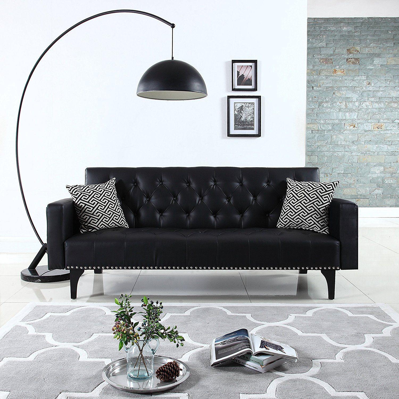 amazon modern tufted bonded leather sleeper futon