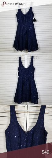 Photo of Navy Pailletten & Spitze Party Prom Cocktailkleid-City Triangles