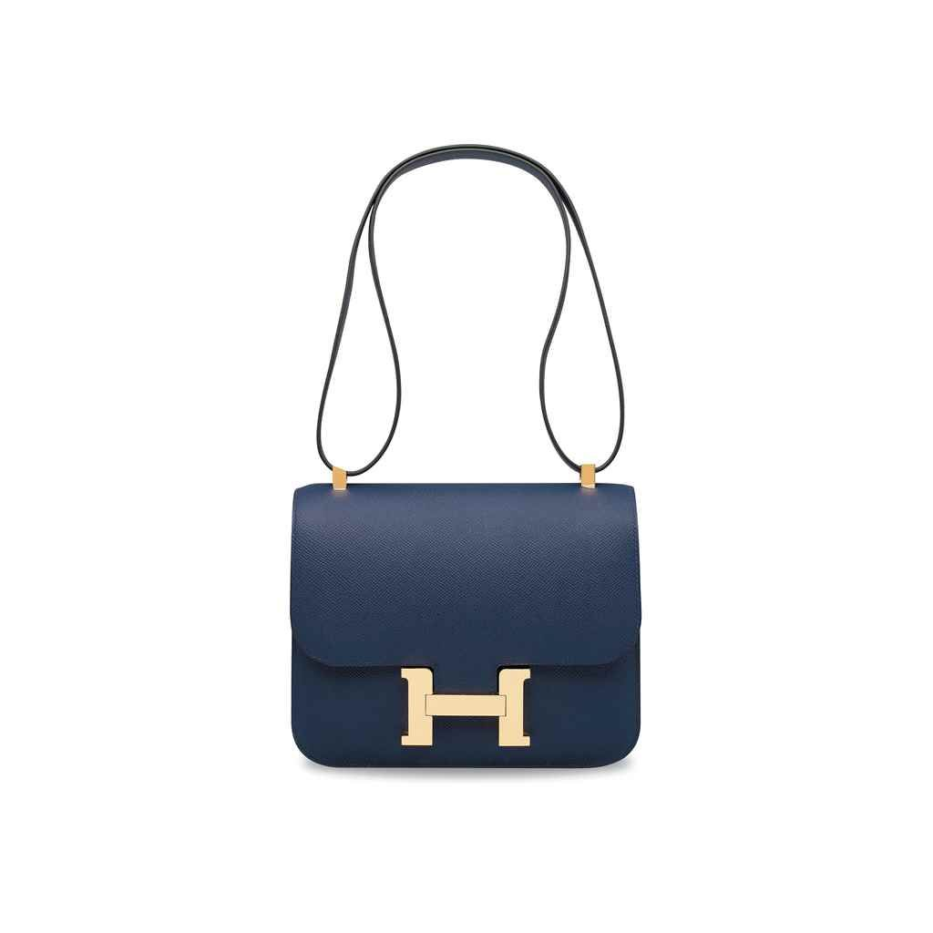 4501227340a A BLEU SAPHIR EPSOM LEATHER CONSTANCE 24 WITH GOLD HARDWARE | Bags ...