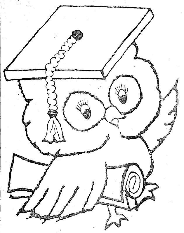 Dibujo de búho con diploma para escolares | Dibujos para colorear ...