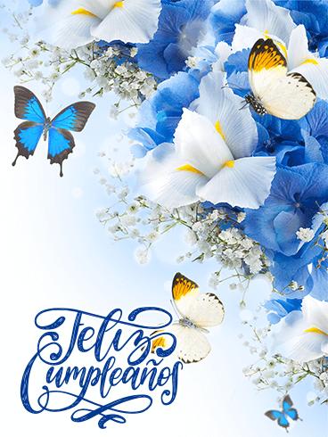 Butterfly Flower Birthday Card In Spanish