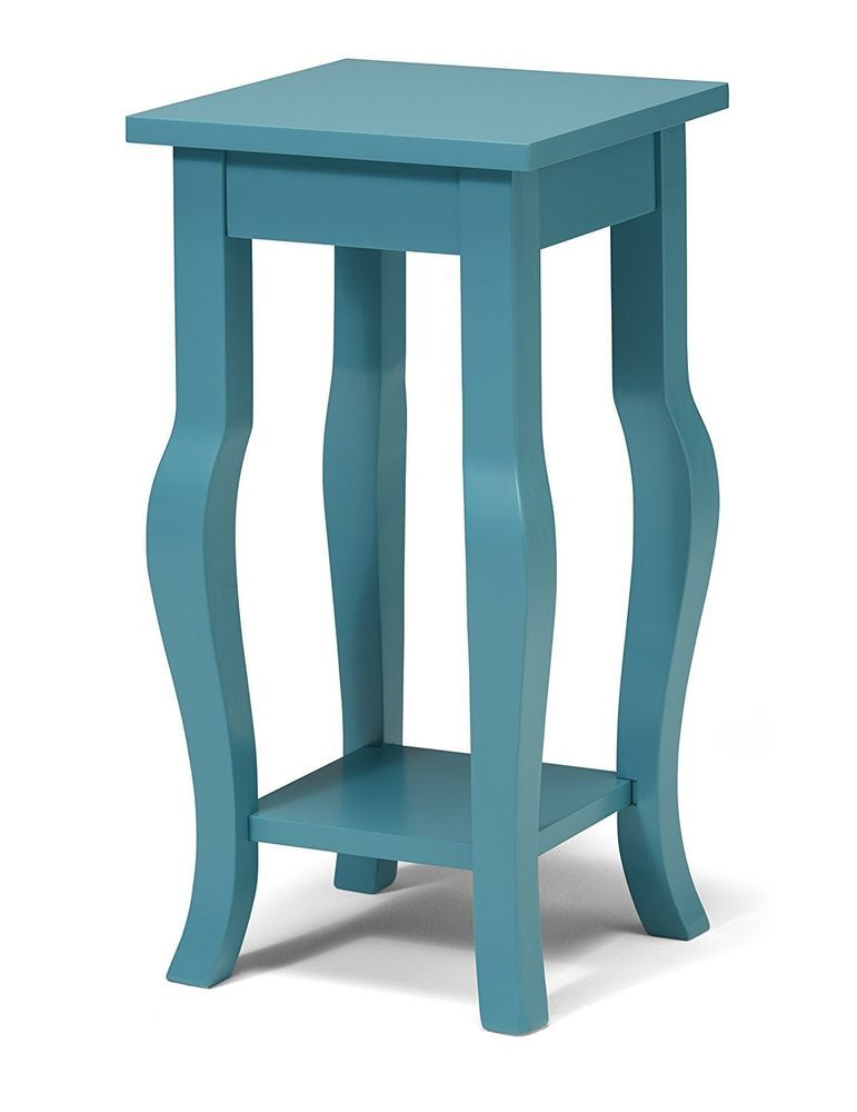 Durable Wooden Pedestal End Table Curved Legs With Shelf Teal 12 X 12 X 24 Kateandlaurel End Tables Wood Pedestal Coastal Living Room Furniture