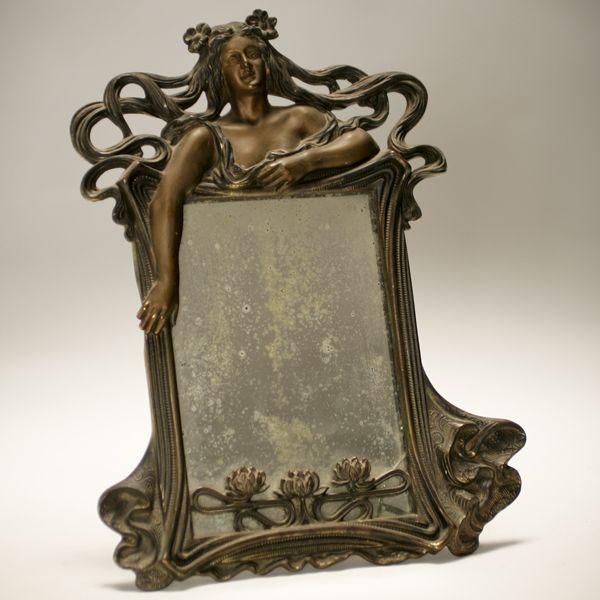Figural Art Nouveau Patinated Metal Frame Mirror Magic