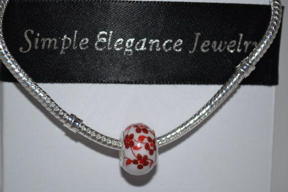 B2G1 Free Sale.................European Glass Red Flower Bead