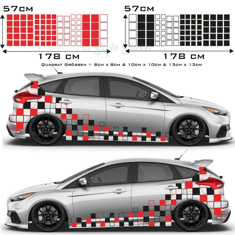Auto Aufkleber Seitenaufkleber Rechteck 178 Motive Hexagon