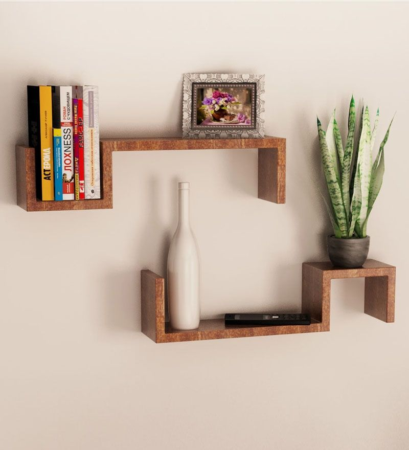 mango wood set of 2 wall shelves by home sparkle online wall - Wooden Wall Rack Designs