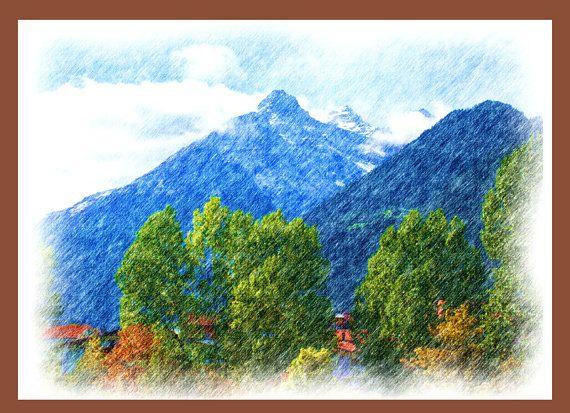 Berg Schnee Bild als Farbstiftzeichnung für Kinderzimmer
