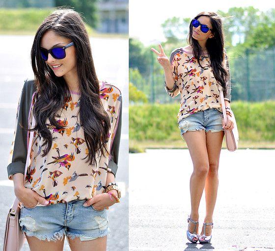 Choies Shirt, Mustang Sandals, Arafeel Bag, Zerouv Sunglasses