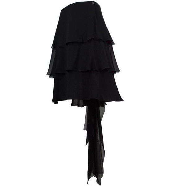 Preowned Chanel Black Chiffon Ruffle Train Skirt 38 ($1,499) ❤ liked on Polyvore featuring skirts, black, ruffled skirts, flouncy skirt, frill skirt, frilly skirt, chiffon skirts and frilled skirt