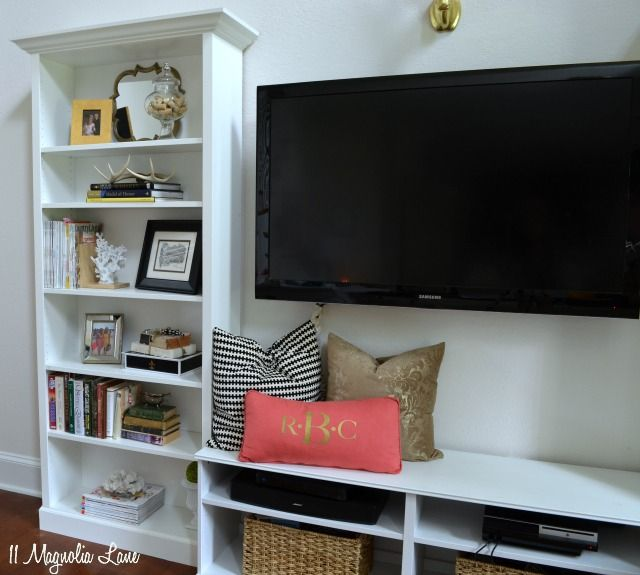 "faux"" built-in living room shelves tutorial 