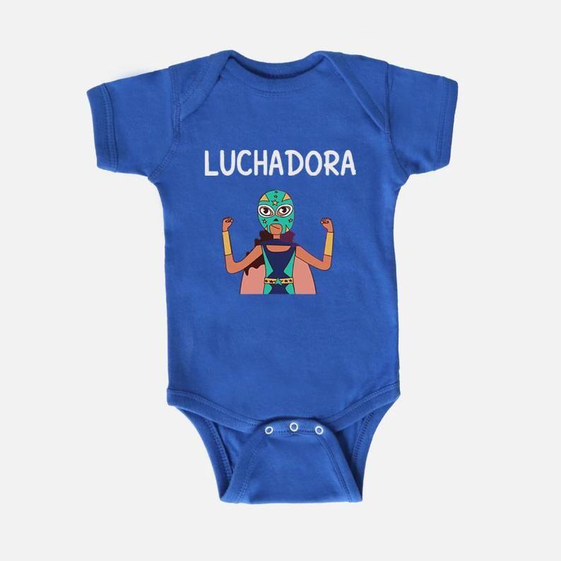 Luchadora baby bodysuit etsy in 2020 baby bodysuit