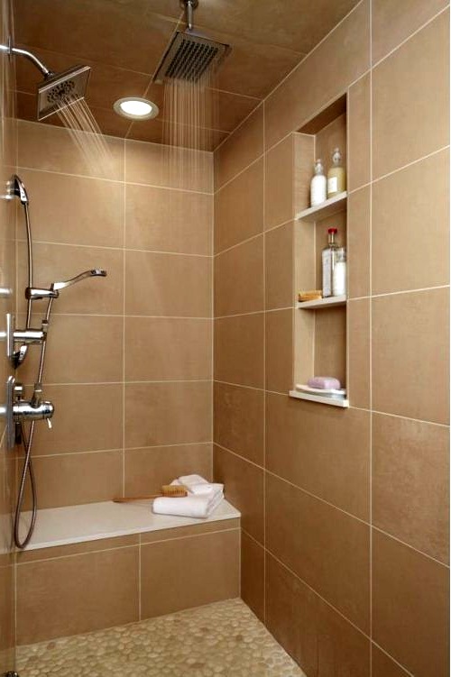 Gorgeous shower design using java tan pebble tile in the ...