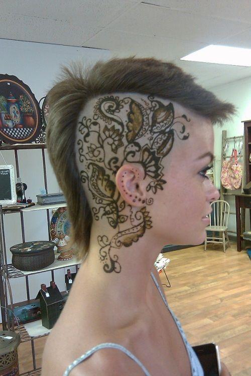 Side Tattoo For Women Henna: Hair Tattoos, Scalp Tattoo, Head