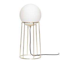 Lampadaire Boule Verre Blanc Laiton Design Retro Hubsch Lampe Sur Pied Metal Design Lamp