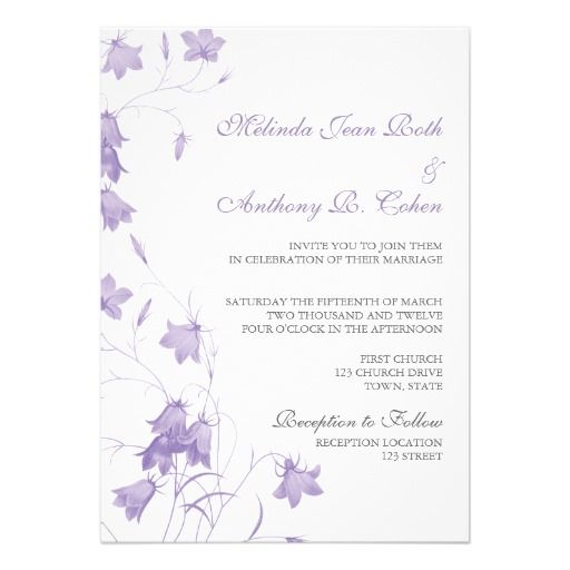 Floral wedding invitation with purple bluebell design | romantic, vintage, modern, country.