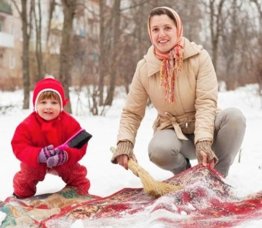Winter Cleaning:  Take rugs out to the snow, give 'em a good dusting (of snow), then sweep and beat them clean.