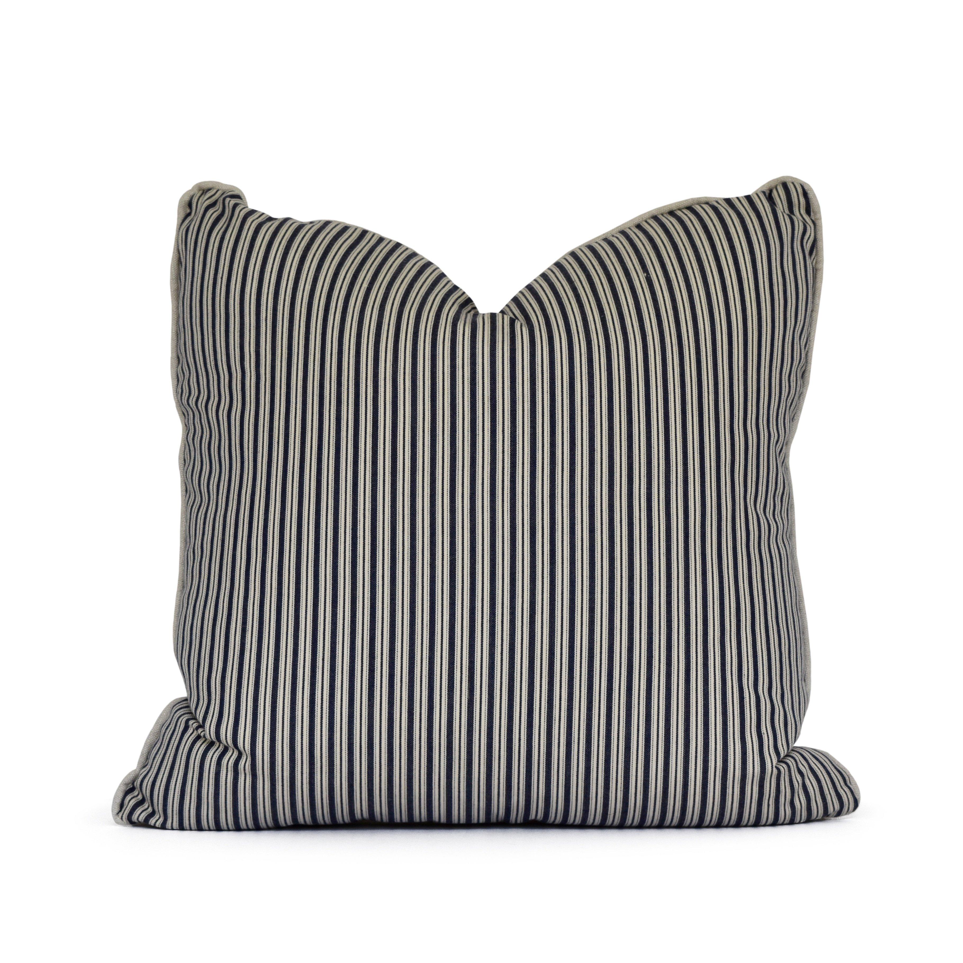 Ticking stripe pillow Navy throw pillow