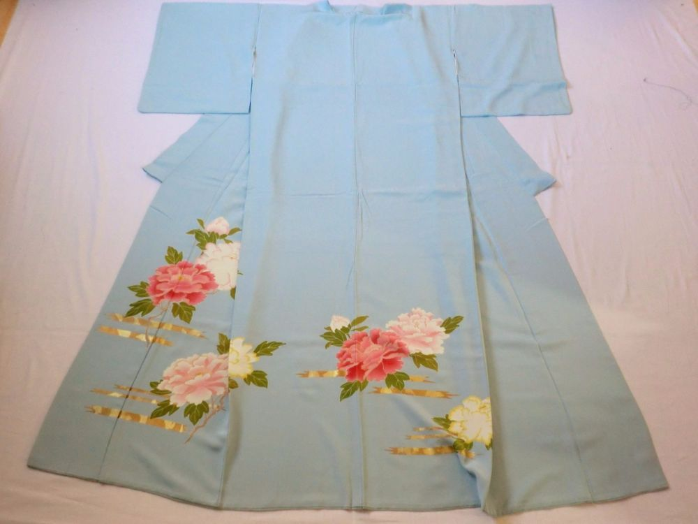 Japanese Vintage Kimono Silk Light Blue Flower Good Condition P120743 | eBay