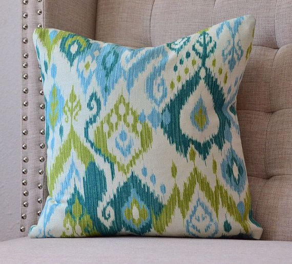 Decorative Pillow Cover Ikat Baby Blue Turquoise Teal