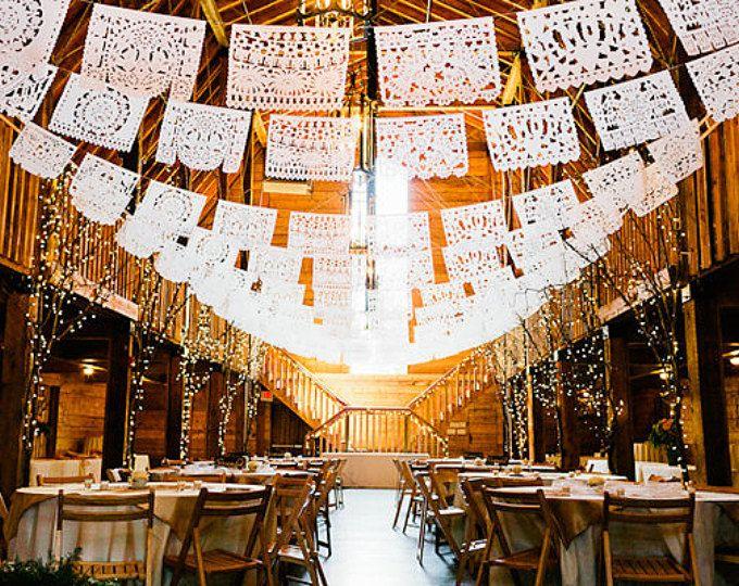 Banners de papel boda picado de Hacienda – color personalizado, personalizado – DOS PALOMAS