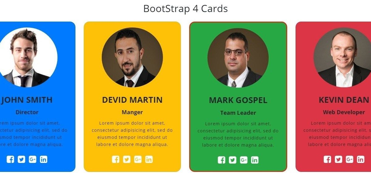 Responsive Cards In Bootstrap 4 Cards Social Icons Deck Of Cards