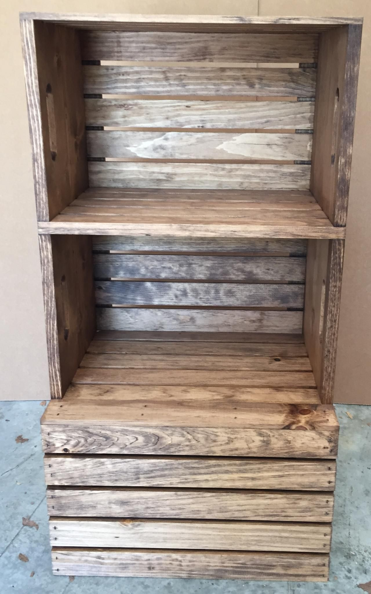 Rustic Wood Stained Stackable Moveable Crate Display