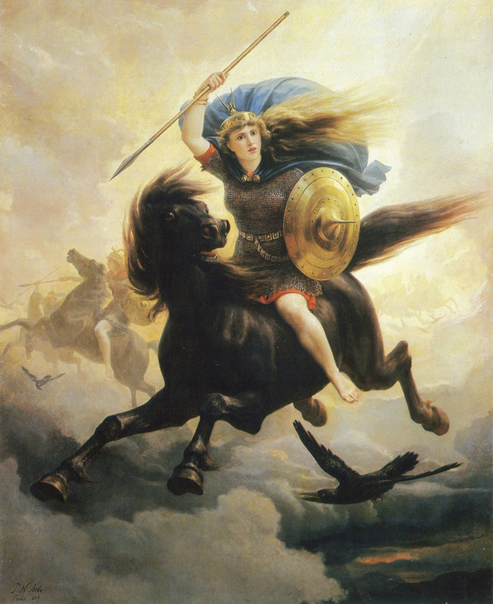 Ride Of The Valkyrie Norse Viking Myth Odin Valhalla Real Canvas Art Print