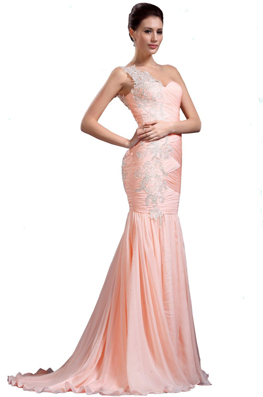Edressit new pink lace straps evening dress prom ball gown