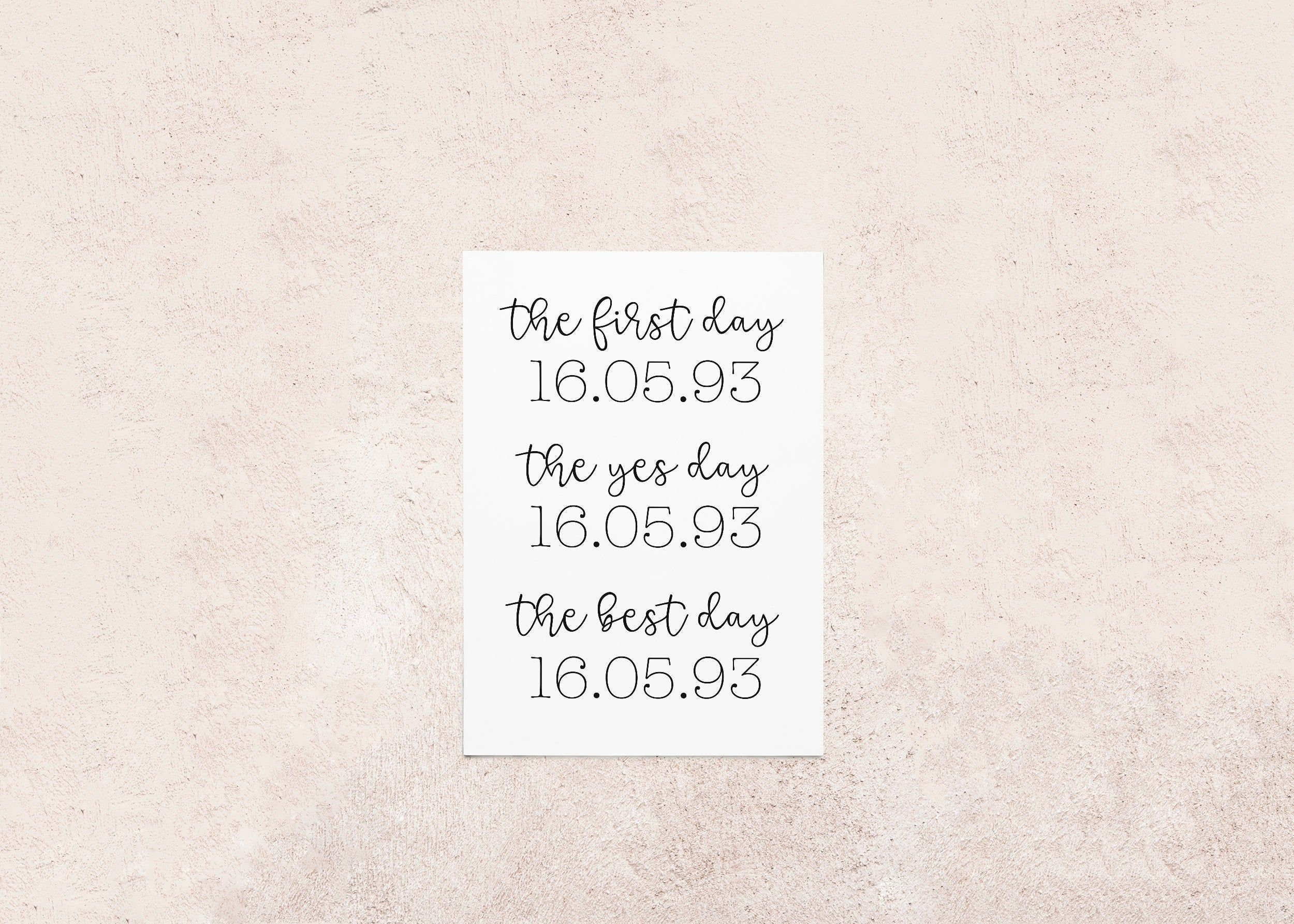 Relationship Dates Print The First Day The Yes Day The Forever