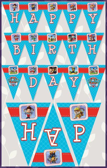 Paw Patrol Birthday Banner Blue Happy Sign Favors