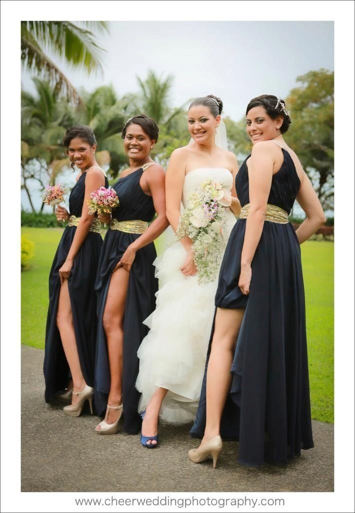 Dark Navy / midnight blue bridesmaid dresses with gold trimming - Dark Navy / Midnight Blue Bridesmaid Dresses With Gold Trimming