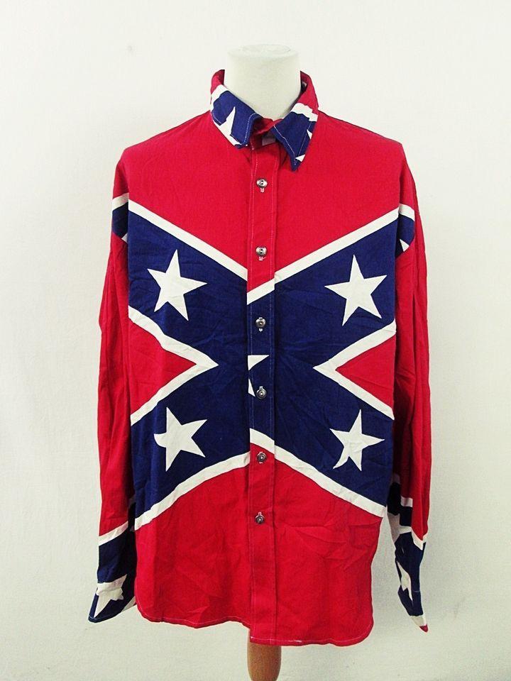 Vintage Confederate Pattern Flag Geometric Indie Cowboy Western Shirt XL