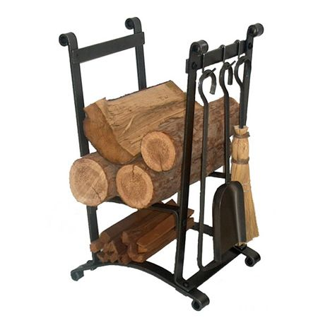 Compact Curved Wood Holder with Fireplace Tools #LearnShopEnjoy