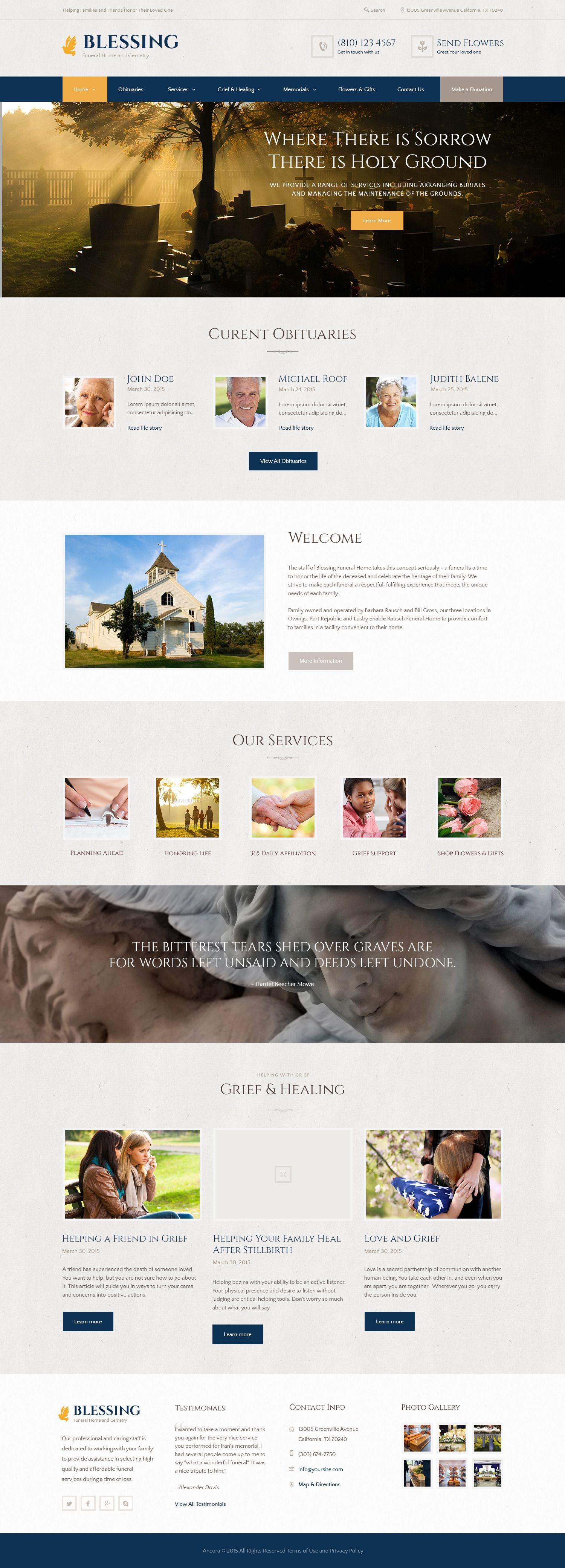 Blessing | Funeral Home WordPress Theme | Funeral, Wordpress and Web ...