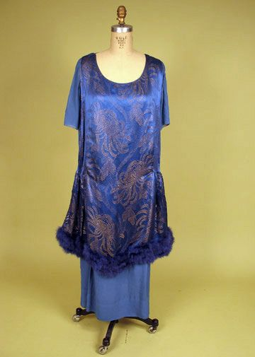 Blue and Gold Lame Evening Gown, circa 1919, via Whitaker Auctions.
