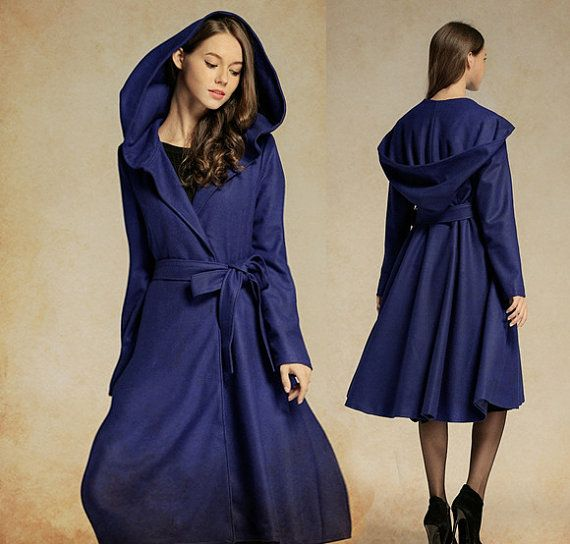 Cashmere Coat Jacket in Blue, Navy Wool Coat, Hooded Coat, Swing ...