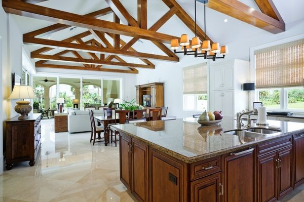 Modern Open Plan Kitchen Vaulted Ceiling Exposed Beams Large
