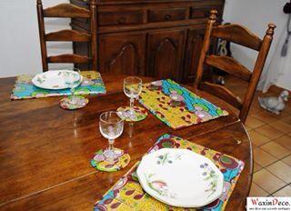Parures de table avec du Wax / WaxinDeco / ankara table set / mat with Wax / placemat with ankara /homedeco / set de table / décoration d'intérieur