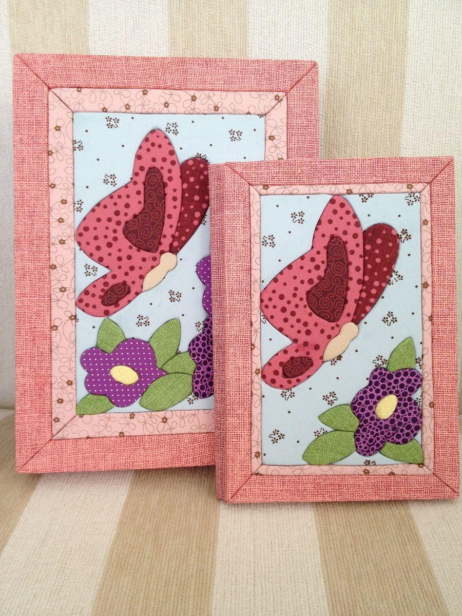 Conjunto caixa caderno borboleta flores patchwork for Fotos de patchwork