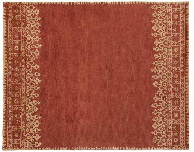 Desa Bordered Wool Rug Terra Cotta