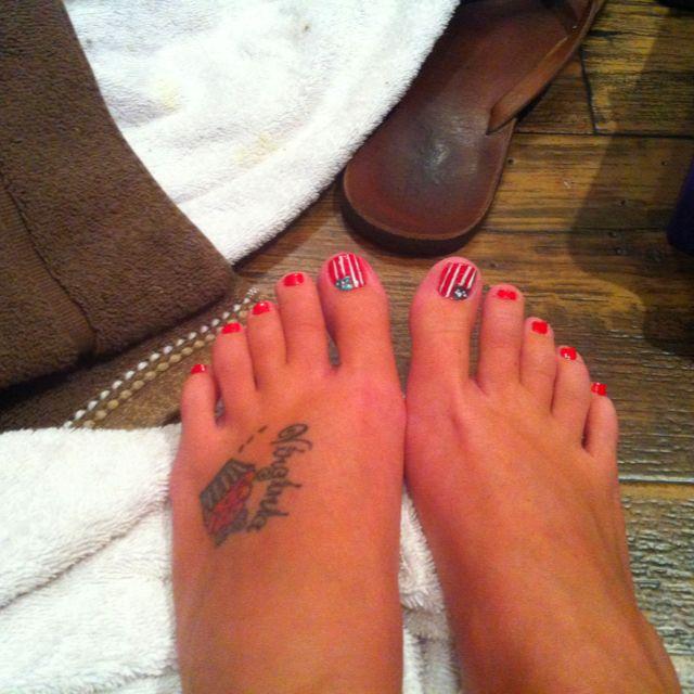 Free Hand American Flag Toenails Toe Nails Fourth Of July Jesus Fish Tattoo