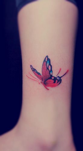 Red Butterfly Tattoo On The Leg Butterfly Tattoos Tattoos