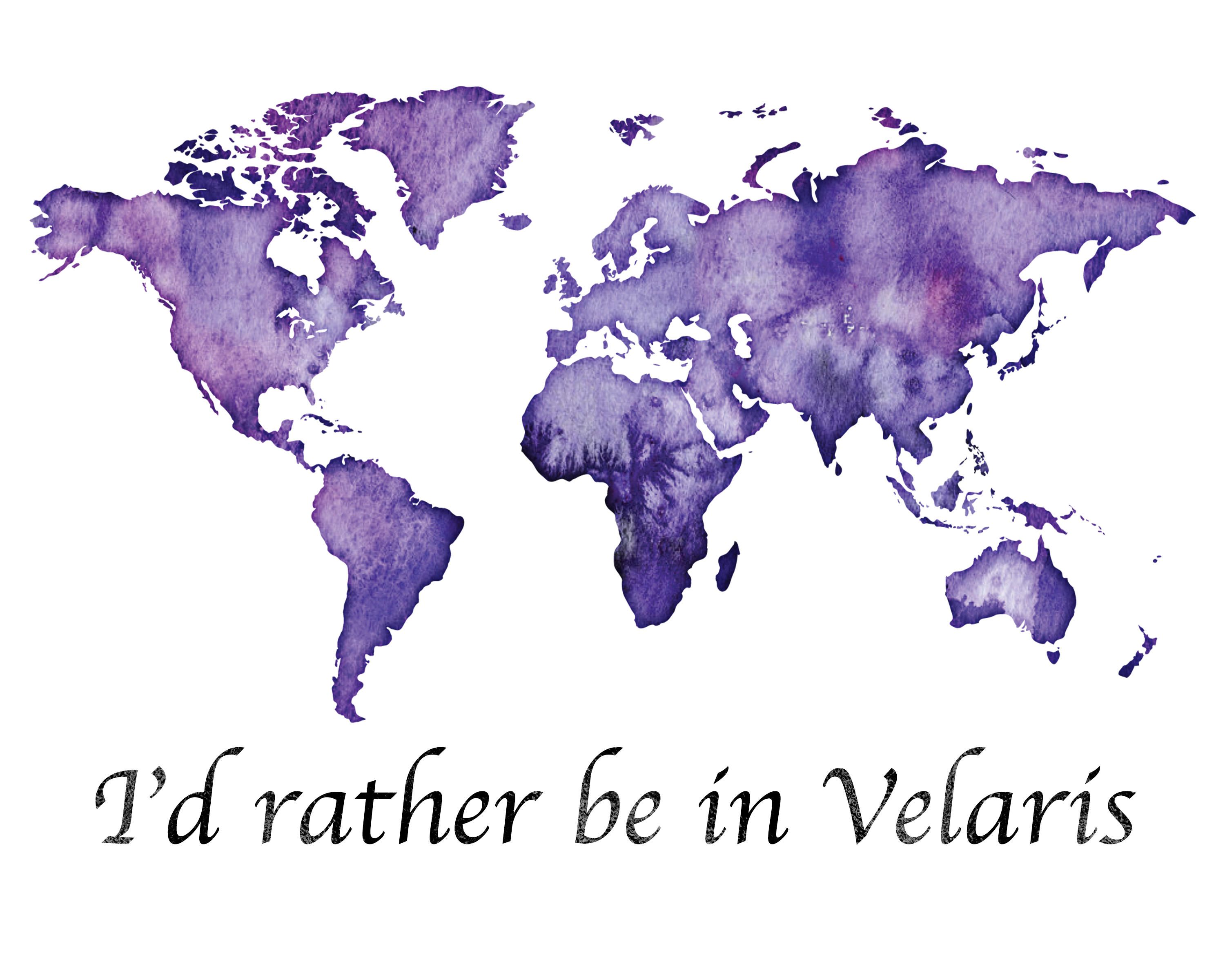 Printable I D Rather Be In Velaris Purple World Map Acotar