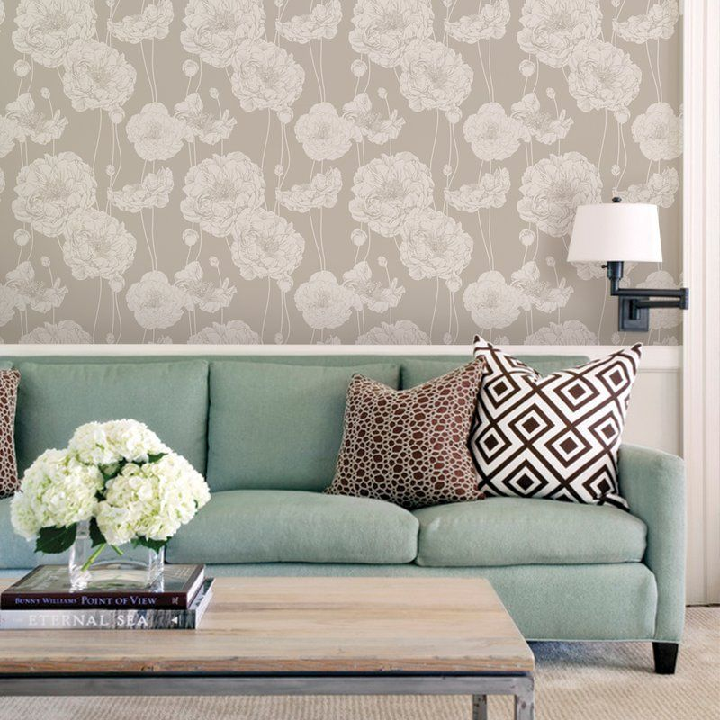 Mullen Peony Peel And Stick Wallpaper Panel Family Room Design Contemporary Family Rooms Interior Design
